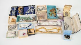 QUANTITY OF VINTAGE COSTUME JEWELLERY mainly necklaces, brooches and pendants