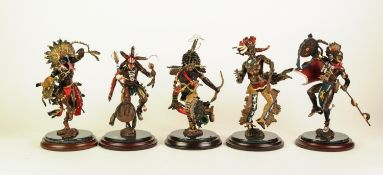 FIVE FRANKLIN MINT HAND PAINTED DETAILED BRONZE FIGURES OF NATIVE AMERICAN INDIANS BY OR AFTER J.