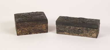 EARLY TWENTIETH CENTURY ORIENTAL EMBOSSED ANTIMONY RECTANGULAR BOX, the hinged lid showing a