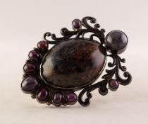 LARGE SILVER BROOCH/PENDANT set with a large cabochon oval marbled blue/grey and brown hardstone and