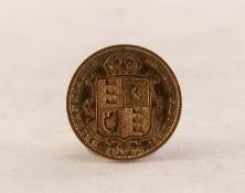QUEEN VICTORIA (1892) GOLD HALF SOVEREIGN, jubilee head, shield back (EF)