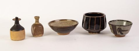 DELAN COOKSON STUDIO POTTERY BOWL, of panelled, footed form, with tenmoku glaze, impressed mark,
