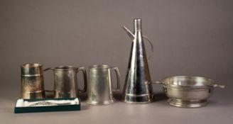 BOCCA DELLA VERITA LTD, STYLISH CHROME PLATED WINE FLASK, of conical form, 11? (28cm) high, together