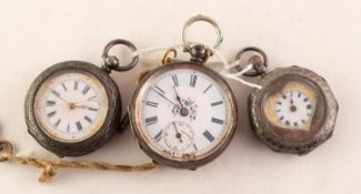 LADY'S SWISS POCKET WATCH with key wind movement, white roman dial with subsidiary seconds dial,
