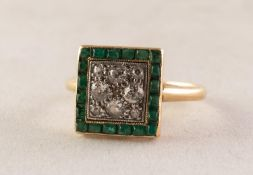 VICTORIAN DIAMOND AND EMERALD SQUARE CLUSTER RING pave set with nine small old cut diamonds within a