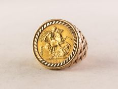 LATE VICTORIAN (1901) GOLD SOVEREIGN, loose mounted in 9ct gold, 18.7 gms gross