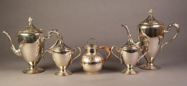 FOUR PIECE ELECTROPLATED PEDESTAL TEA AND COFFEE SET, of ovoid form with scroll handles and flame