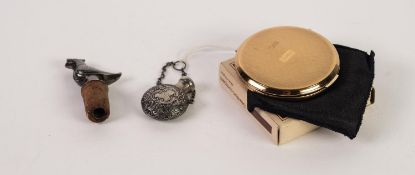 VICTORIAN SILVER COLOURED METAL SMALL PERFUME MOON FLASK with screw-off lid, the body repousse