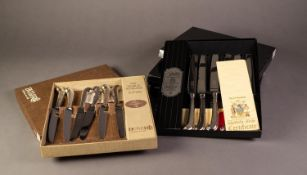 FOUR BOXED SETS OF ?BUTLER? ELECTROPLATED KNIVES WITH PISTOL GRIP HANDLES, comprising: TWELVE