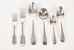SET OF ELEVEN FIDDLE PATTERN ELECTROPLATED TABLE FORKS, together with a NEAR MATCHING PAIR, SET OF