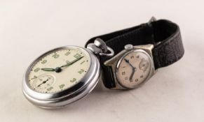 GENT'S SWISS METAL CASED VINTAGE WRISTWATCH with silvered arabic dial, leather strap and a SMITH'S