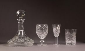 ELEVEN BOXED ITEMS OF IRISH-TYRONE CRYSTAL CUT GLASS WARES 'ANTRIM' PATTERN viz Ships decanter and
