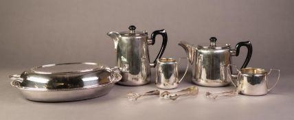 FOUR PIECE HOTEL PLATE TEA SET, together with THREE PAIRS OF SUGAR TONGS and an OVAL ENTRÉE DISH AND