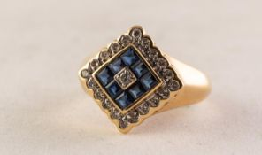 18ct GOLD, DIAMOND AND SAPPHIRE SQUARE CLUSTER RING set with a tiny centre diamond with surround