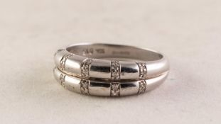 9ct WHITE GOLD AND DIAMOND TWO STRAND HALF-HOOP RING each strand set with five tiny diamonds, 0.15ct