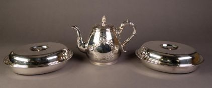 ELECTROPLATED TEAPOT, of footed baluster form with engraved stylised decoration, together with a