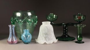 STYLISH GREEN TINTED GLASS VASE, of ovoid form with moulded girdle, 8? (20.3cm) high, together
