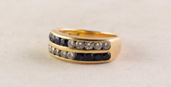 HEAVY 18ct GOLD, DIAMOND AND SAPPHIRE TWO ROW HALF-HOOP RING, each row channel set with five small