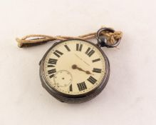 VICTORIAN SILVER POCKET WATCH with keywind movement, white roman, engine turned dial, Chester