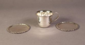 PAIR OF CONTINENTAL SILVER COLOURED PLANISHED METAL (800 STANDARD) GLASS COASTERS, 3 ½? (8.9cm)