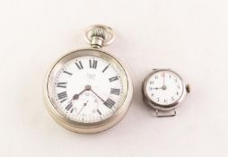 LIMIT No2, EARLY 20th CENTURY METAL CASED OPEN FACE POCKET WATCH with Roman dial with seconds