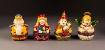 SET OF FOUR MODERN VILLEROY & BOCH FIGURAL TRINKET BOXES, each painted in colours and with a