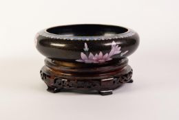 MODERN CHINESE CLOISONNÉ SHALLOW BOWL, of rounded, footed form, decorated in colours with a bird
