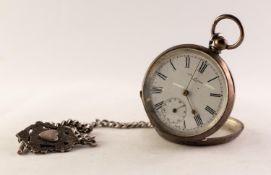 WILLIAM P. ST JOHN, ATHY IRELAND, SWISS SILVER COLOURED METAL (800 mark) POCKET WATCH with Swiss key