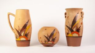 THREE BRENTLEIGH WARE ART DECO POTTERY VASES PAINTED IN MATCHING DESIGNS of stylised foliafe on buff