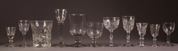 TALL EARLY NINETEENTH CENTURY WINE GLASS, having ogee bowl and broad circular foot with fold over