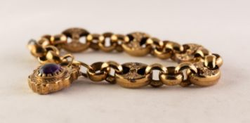 9ct GOLD CHAIN BRACELET AND CHASED FANCY PADLOCK CLASP, set with a cabochon oval amethyst, the