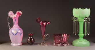 NINETEENTH CENTURY PALE GREEN GLASS TABLE LUSTRE, with prism cut drops ad pink enamelled border,