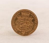 QUEEN VICTORIA (1878) GOLD HALF SOVEREIGN, young head, shield back, die number 81 (EF)