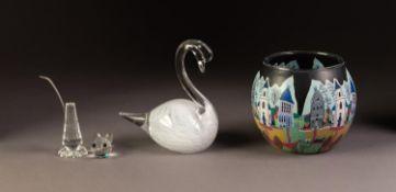 MODERN CENTRAL EUROPEAN GLASS GLOBULAR BOWL, printed with a street scene, 3 ½? (8.9cm) high,