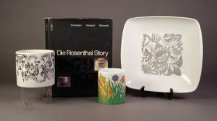 THREE MODERN PIECES OF ROSENTHAL STUDIO LINE CHINA, comprising: CUNO FISCHER TWO HANDLED SQUARE