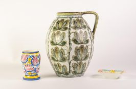 AFTER A DESIGN BY GLYN COLLEDGE FOR DENBY POTTERY, LARGE POTTERY JUG SHAPED VASE, painted in muted