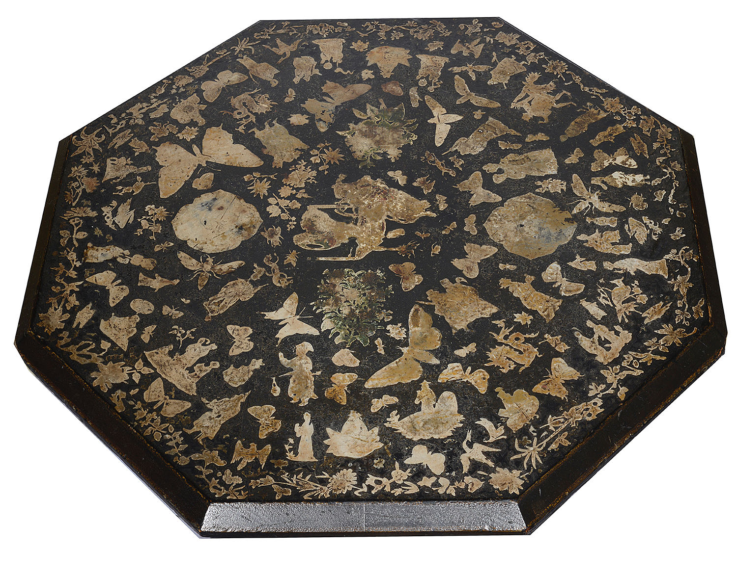 Lot 2 - A Victorian ebonised and gilt decoupage decorated occasional table