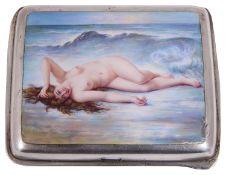 An early 20th century Austrian silver an enamel cigarette case cover