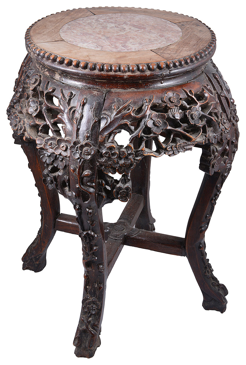 Lot 5 - An early 20th century Chinese export rosewood low jardiniere stand