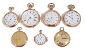 Seven gold plated keyless pocket watches to include a chronograph