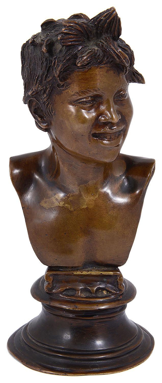 Lot 21 - Vincenzo Gemito (Italian, 1852-1929) 'Testa di Licco', a small bust from the acquiaolo