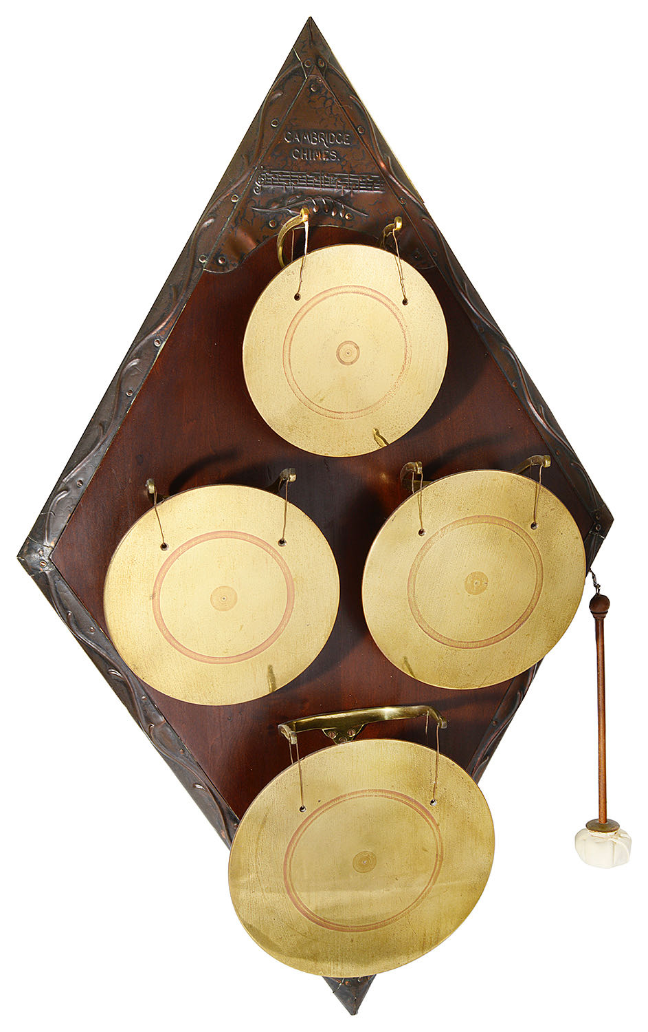 Lot 4 - An Arts and Crafts 'Cambridge Chimes' wall mounted dinner gong