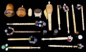 A small collection of 19th c vegetable ivory and bone sewing items