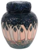 A modern Moorcroft pottery 'Cluny' pattern ginger jar and cover