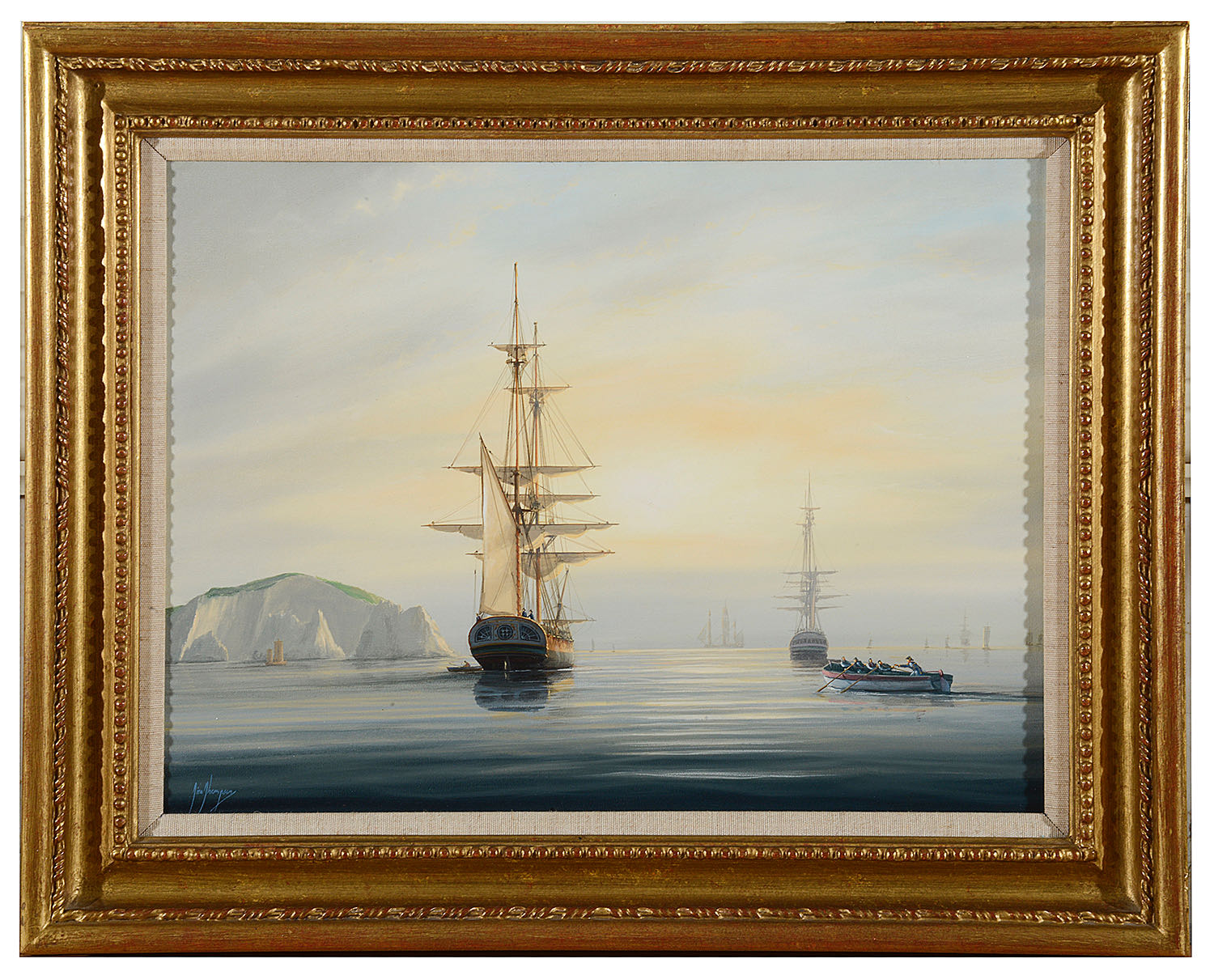 Lot 48 - Tim Thompson (Brit. born 1951) 'Frigate in the Solent' oil on canvas