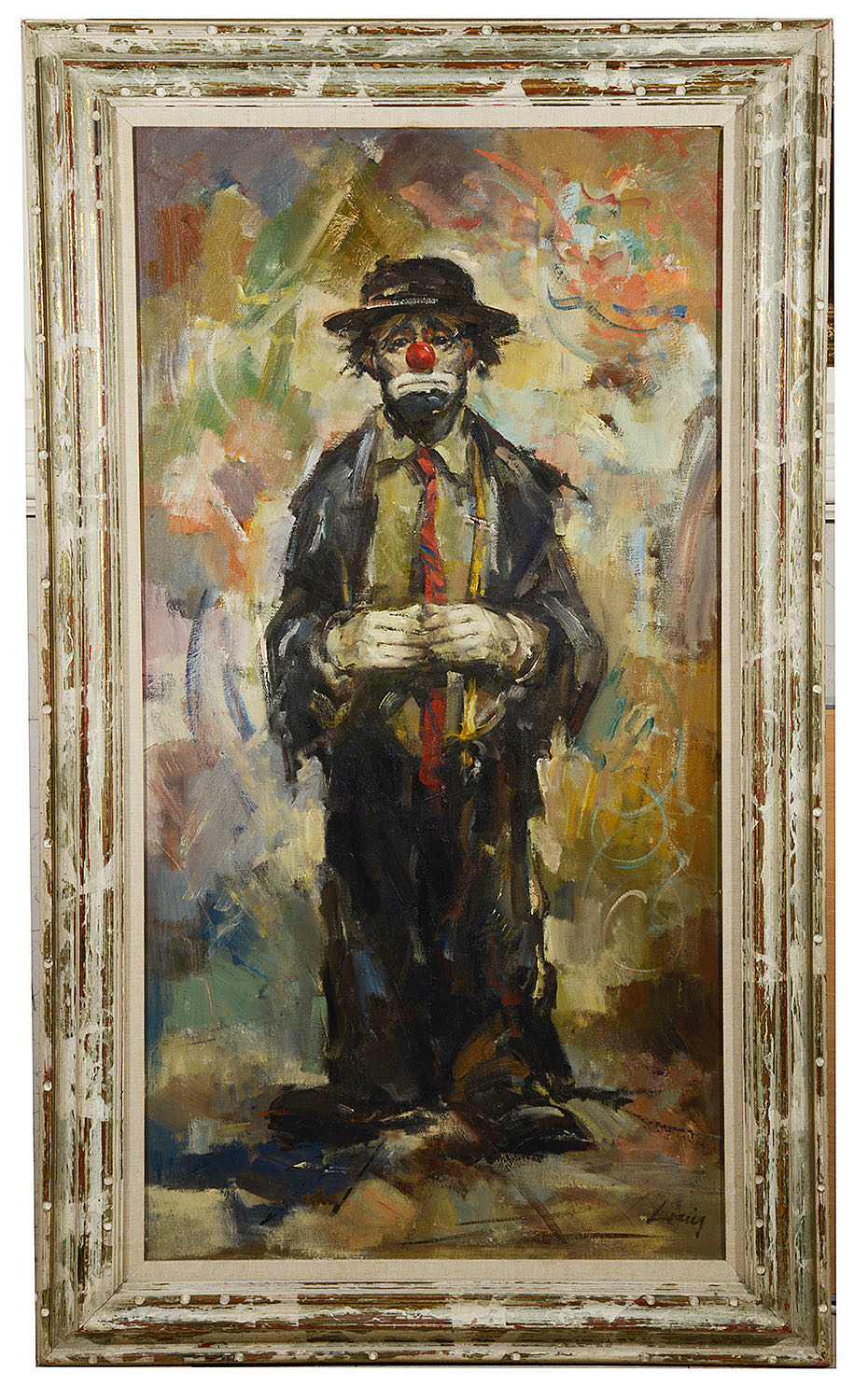 Lot 56 - Louis Spiegel (American, 1901-1975) 'Study of standing clown', a large oil on canvas