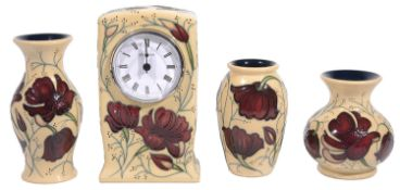 Moorcroft pottery 'Chocolate cosmos' pattern mantel clock; others