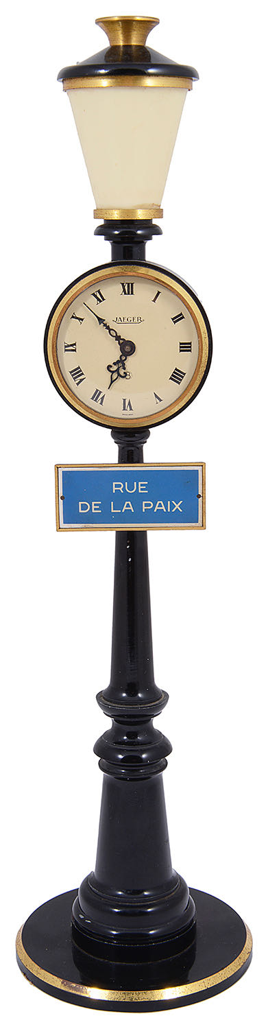 Lot 28 - A 1960s Jaeger table clock in the form of a Parisian lamp post