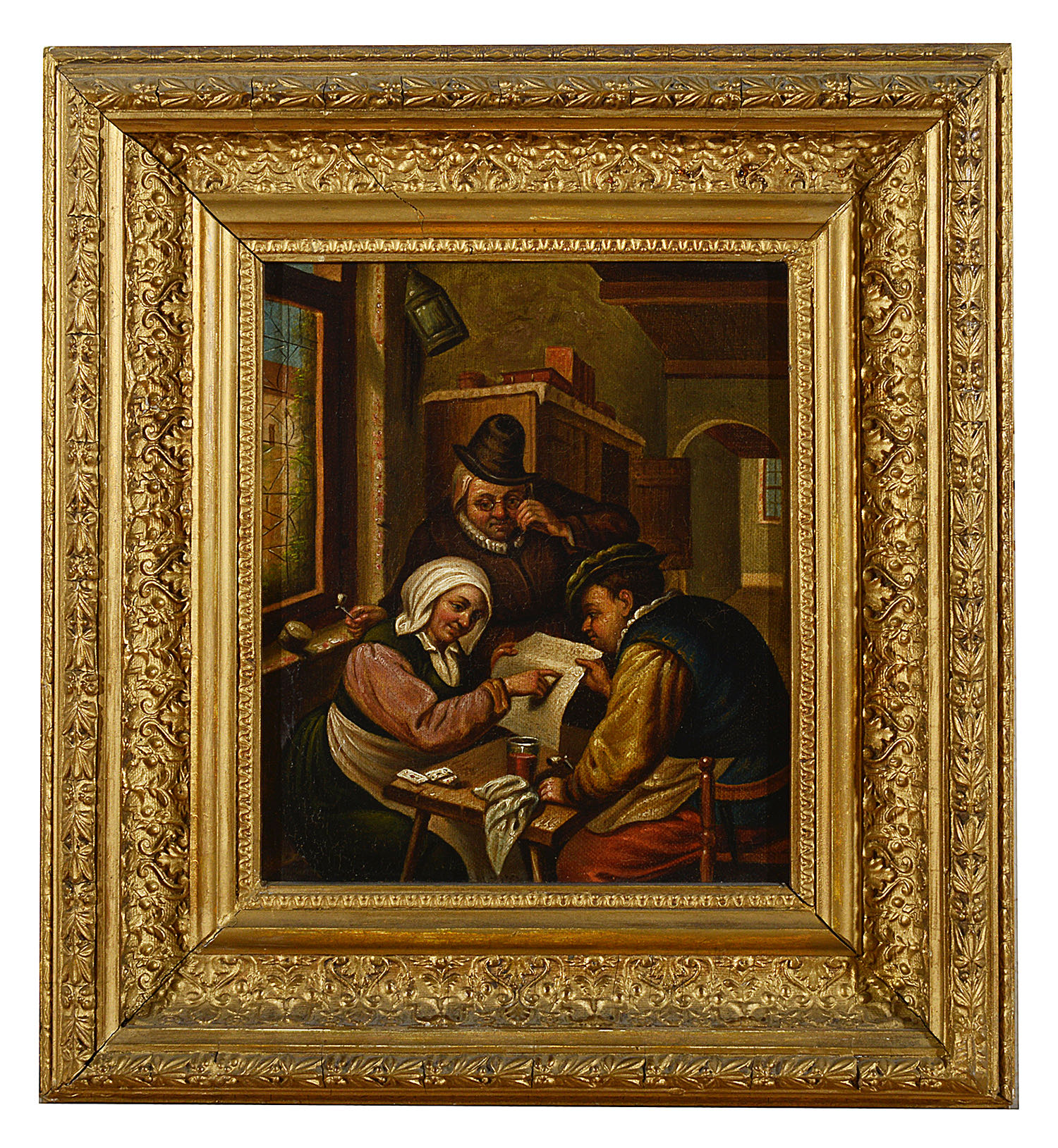 Lot 45 - Three late 18th / early 19th c Dutch school tavern genre scenes in the manner of Jan Steen