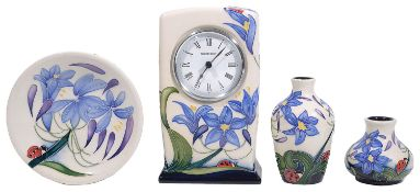 Moorcroft pottery 'Fly Away Home' pattern mantle clock; others